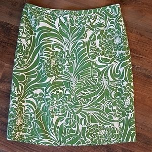 LOFT green and white pencil skirt size 4